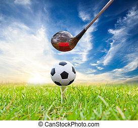 chauffeur, boule football, succès, tee