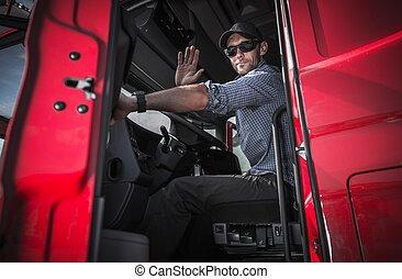 chauffeur, camion, partir, entrepôt