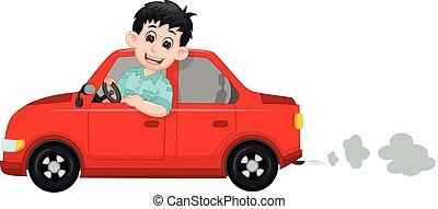 chauffeur de taxi, sourire, équitation, dessin animé, beau