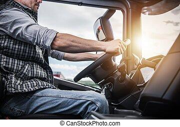 chauffeur, derrière, roue, camion