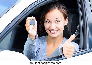 chauffeur, femme, heureux