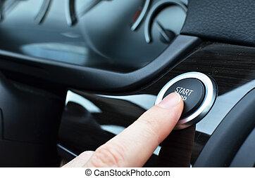 chauffeur, moteur voiture, commencer
