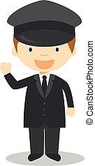 chauffeur, schattig, vector, spotprent, illustratie
