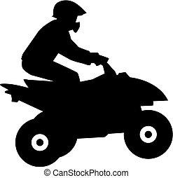 chauffeur, silhouette, quad