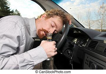 chauffeur, sommeils, fatigué