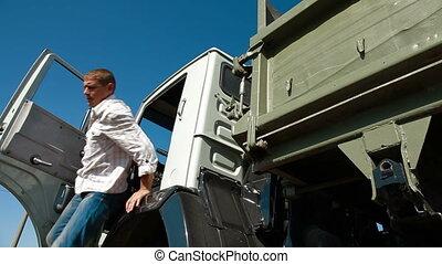 chauffeur taxi, camion, partir