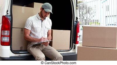 chauffeur, vérification, sien, liste, livraison
