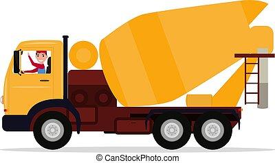 chauffeur, vecteur, béton, dessin animé, mélangeur, camion, homme