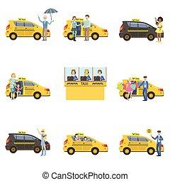 chauffeurs taxi, ensemble, voitures, clients