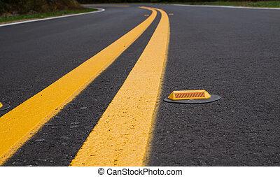 chaussée, devider, lignes, marqueurs