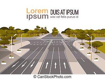 chaussée, plat, marquer, carrefour, asphalte, espace, flèches, trafic, vide, fond, signes, route, horizontal, copie, paysage, autoroute