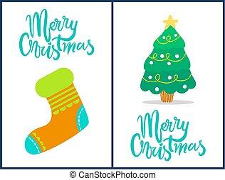 chaussette, arbre, illustration, vecteur, joyeux noël