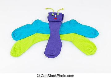 chaussettes, dans, les, formulaire, de, a, papillon