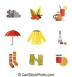 chaussettes, ensemble, parapluie, imperméable, manteau, chauffé, arbre, illustration, automne, vecteur, gants, pluie charge, automne, thé, vêtements, parka, chapeau, écharpe, vin