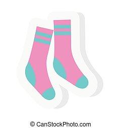chaussettes, plat, autocollant, style, icône, vecteur, ...