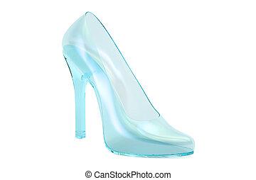 chausson, rendre, talon, élevé, verre,  3D, cristal