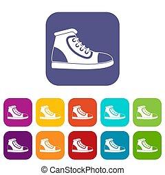 chaussure, athlétique, icônes, ensemble