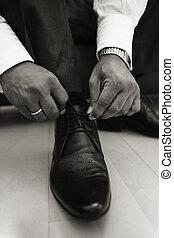 chaussure, attachement, dentelles