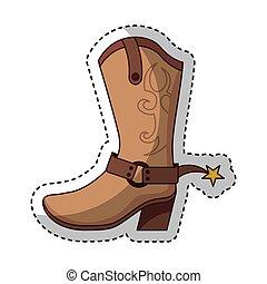 chaussure, botte cowboy, icône