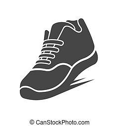 chaussure, courant, vecteur, icon.
