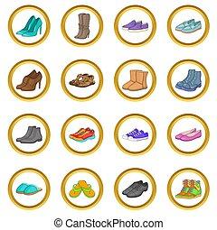 chaussure, ensemble, dessin animé, style
