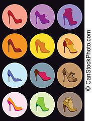 chaussure, ensemble, vecteur