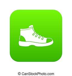 chaussure, icône, vert, touriste, numérique
