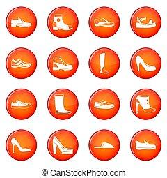 chaussure, icônes, ensemble