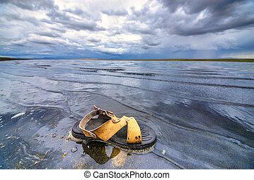 chaussure, lac
