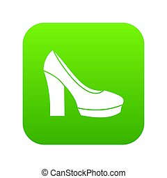 chaussures, élevé, vert, numérique, talon, icône