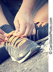 chaussures, attachement, sports
