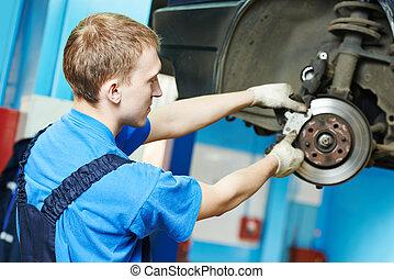 chaussures, auto, frein, mécanicien, voiture, remplacement