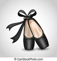 chaussures ballet, illustration, réaliste, noir, pointes