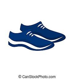 chaussures, bleu, icône