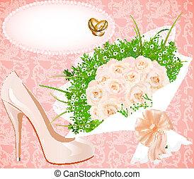 chaussures, bouquet, invitation, anneaux, fond, mariage