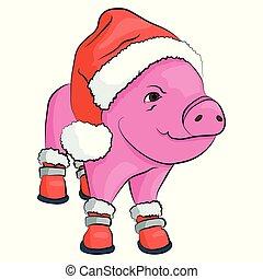 chaussures, claus, isolé, cochon, white., santa chapeau, rouges