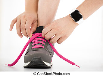 chaussures, coureur, smartwatch, sports, courant, closeup