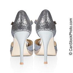 chaussures dames, isolé, élevé, arrière-plan., talons, blanc