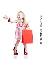 chaussures, elle, accessoires, rouges, enfant, girl, essayer, maman