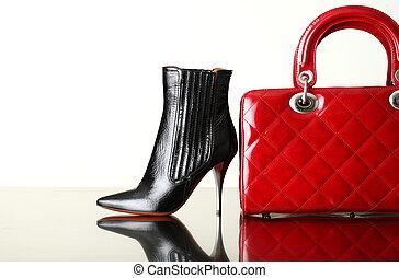 chaussures, et, sac main, mode, photo