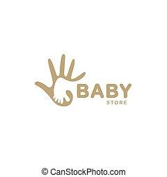 chaussures, famille, logotype., résumé, campaign., négatif, bébé, espace, isolé, adoption, logo., magasin, parent, signe., symbole., main, enfant adulte, pied, charité, gosses, illustration., emblem., vecteur, beige, icon.