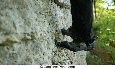 chaussures, haut, détail, rock., closeup, escalade, en mouvement, sport