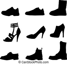 chaussures, hommes, isolé, silhouettes, blanc, femmes