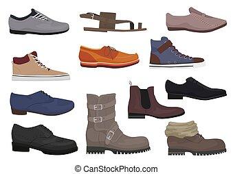 chaussures, icônes, saison, set., hommes, isolé, bottes, collection., mâle, homme