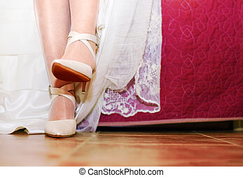 chaussures, image, haut, mariage, fin, robes