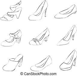 chaussures, isolé, arrière-plan., silhouettes, blanc, femmes