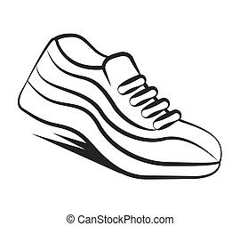 chaussures, isolé, coureur, tennis, icône