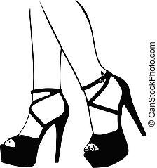 chaussures, jambes, femme, illustration, gros plan, femmes