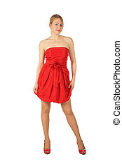 chaussures, jeune, blond, robe, girl, rouges