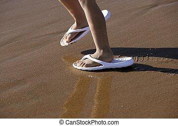 chaussures, pieds, sable, adulte, plage, enfants